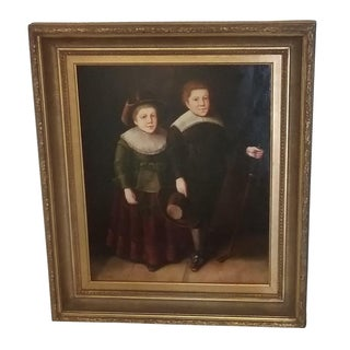 Vintage Boy and Girl Oil Painting on Canvas