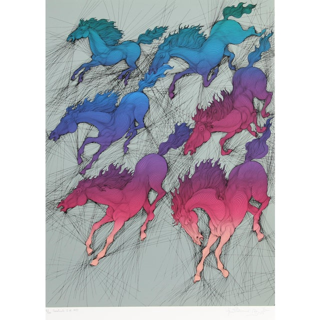 "Guillaume Azoulay ""Cavalcade Triptych"" Three Serigraphs - Image 2 of 5"
