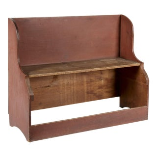 UNUSUAL DEACONS BENCH / BUCKET BENCH IN DRY SALMON RED PAINT, PROBABLY OF NEW ENGLAND ORIGIN, CA 1830-50