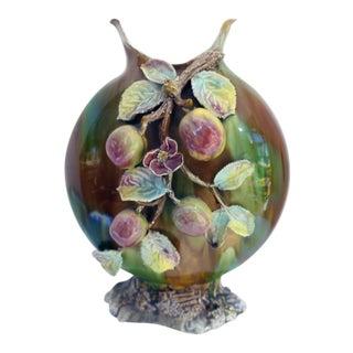 French Majolica Floral Vase