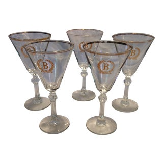 "5 Vintage Gold ""B Embossed"" Crystal Cocktail Glasses"