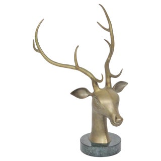 Bronze Deer Head On Marble Base