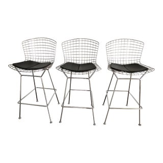 Bertoia Counter Stools With Seat Pads - Set of 3