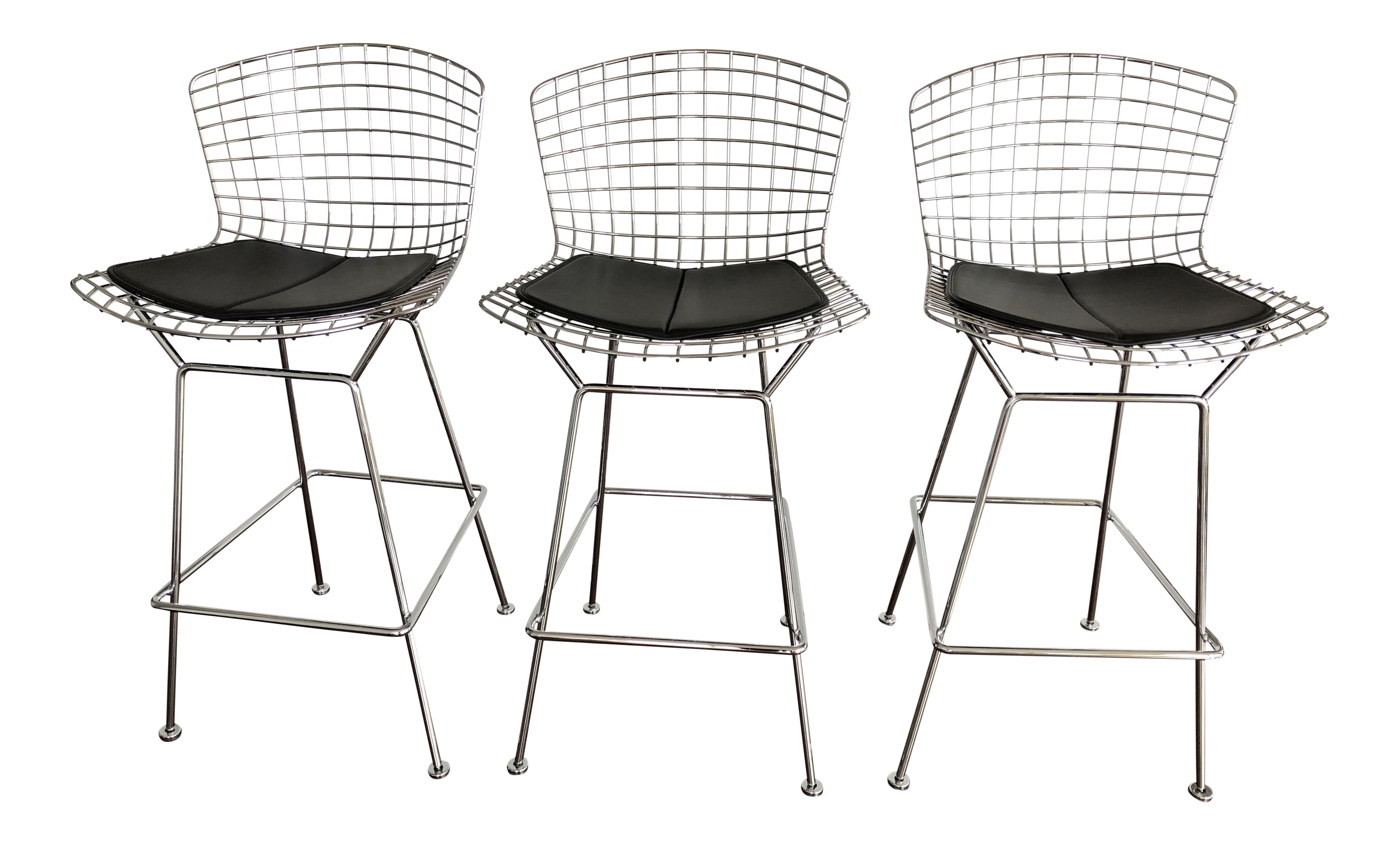 bertoia counter stools with seat pads set of 3