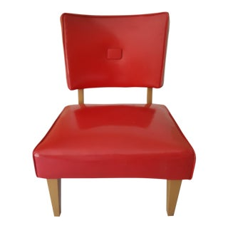 1950s Vintage Red Vinyl Slipper Chair
