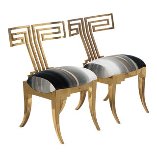 A Pair of Studio designed Brass Klismos Occasional Chairs circa 1980