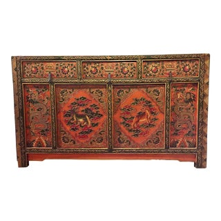 Mongolian Antique Painted Wood Cabinet