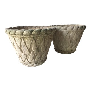 Antique Basket Weave Cement Planters - a Pair