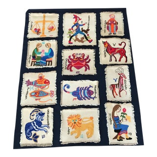 Vintage Hand Made Embroidery Horoscope Tapestry