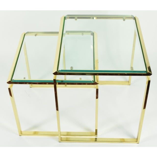 Pair of Brass & Glass Modernist Nesting Tables - Image 4 of 8