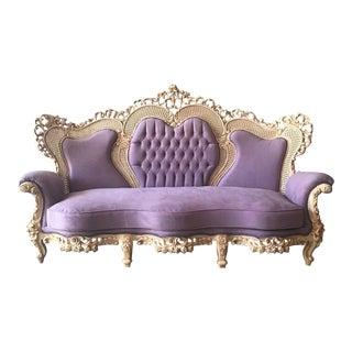 Italian Rococo Lavender Velvet Settee