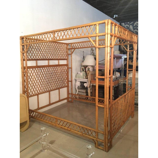 Rattan Bamboo Chinese Chippendale Queen Canopy Bed - Image 2 of 12