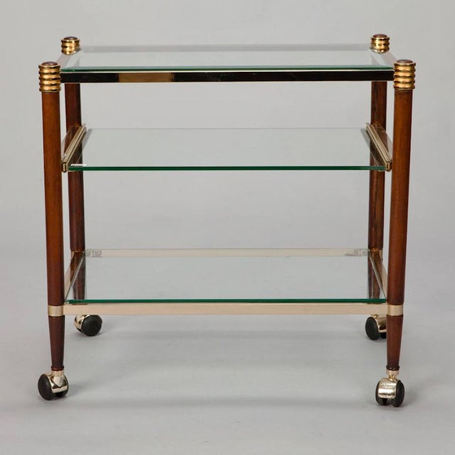 Mid-Century Italian Brass Glass and Polished Wood Trolley Table or Bar Cart - Image 4 of 8