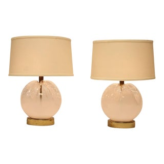 Stylish Italian Murano Glass Table Lamps By Mazzega Murano