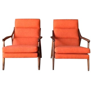 Custom Orange Danish Mid Century Style Lounge Chai