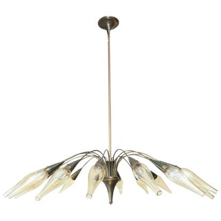 1950s Brass French Sixteen-Arm Chandelier with Original Glass Shades