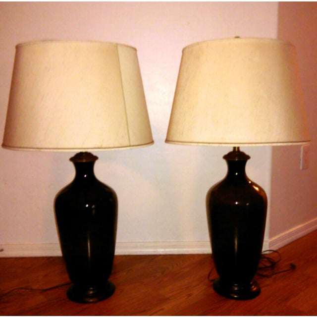 Urn Glass Lamps in Whiskey- A Pair - Image 3 of 3