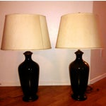 Image of Urn Glass Lamps in Whiskey- A Pair
