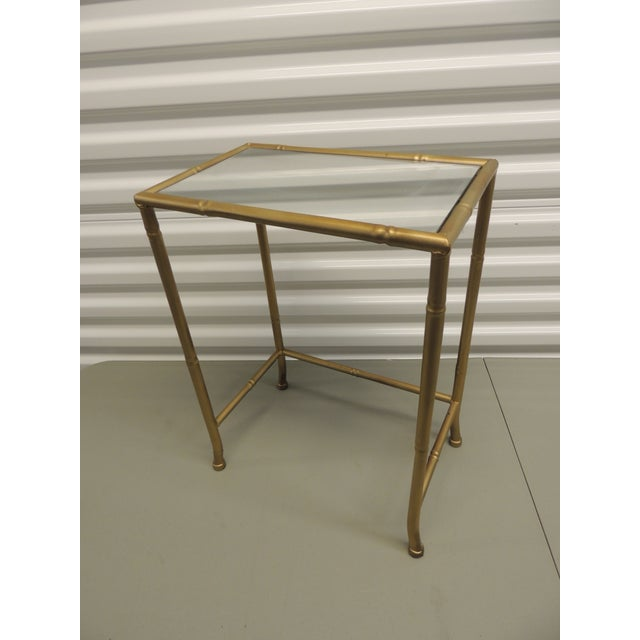 Small Metal gold phone table with glass inset top - Image 3 of 4