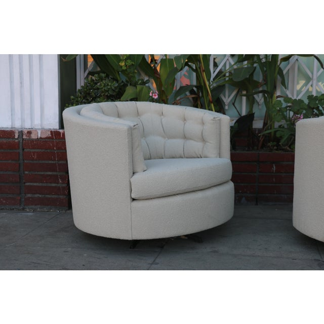 Milo Baughman Style Swivel Chairs - A Pair - Image 5 of 10