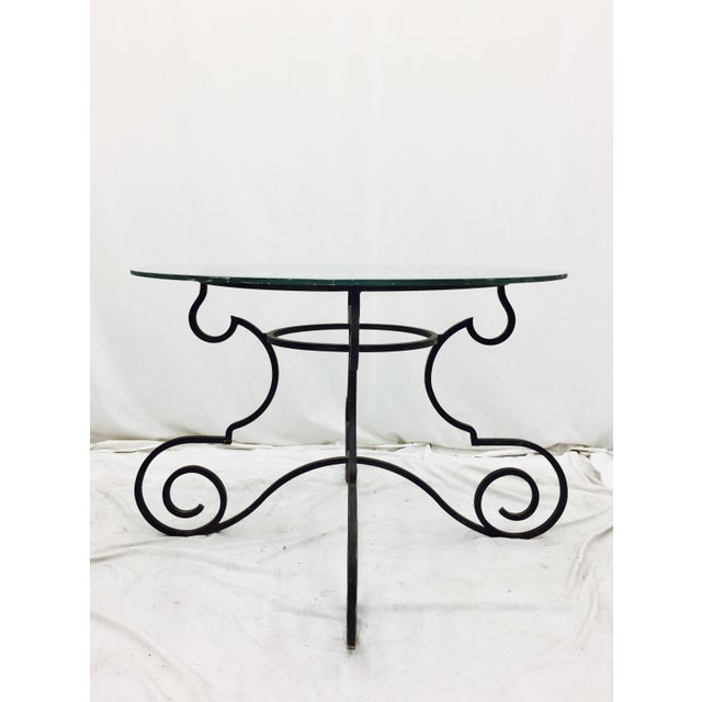 Vintage Wrought Iron & Glass Top Table - Image 3 of 6