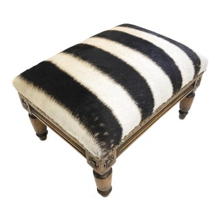 Forsyth One of a Kind Vintage Footstool in Zebra Hide