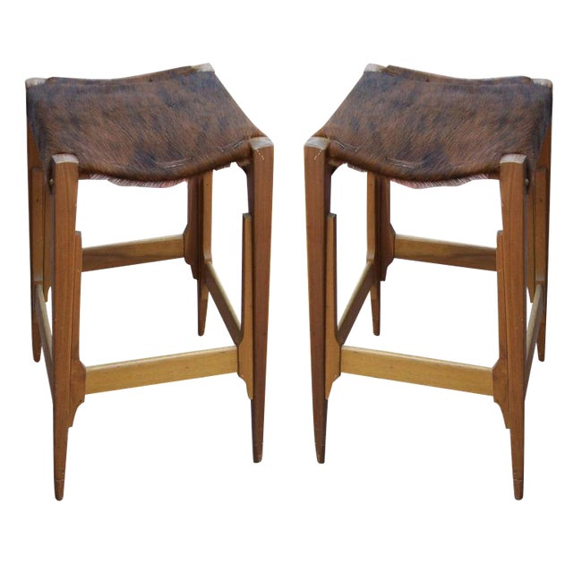 Pair of Architectural Frame Cowhide and Wood Barstools - Image 1 of 5