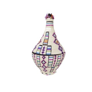 'Purple People Eater' Ivory Moroccan Woven Bread Basket