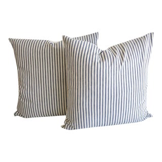 19th Century Blue and White American Stripe Ticking Pillows