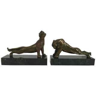 Lion & Lioness Marble & Brass Bookend - Pair