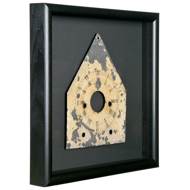 Image of Framed Antique Galvanized Metal Clock Face