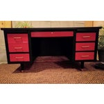 Image of Mid-Century Black & Red Solid Wood Desk