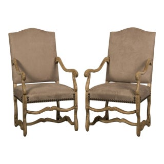 Set of Two Antique French Mouton Armchairs circa 1900