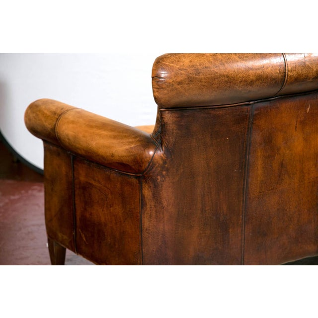 Vintage French Distressed Art Deco Leather Sofa - Image 7 of 9