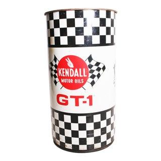 Vintage Kendall Checkered Flag Metal Oil Barrel