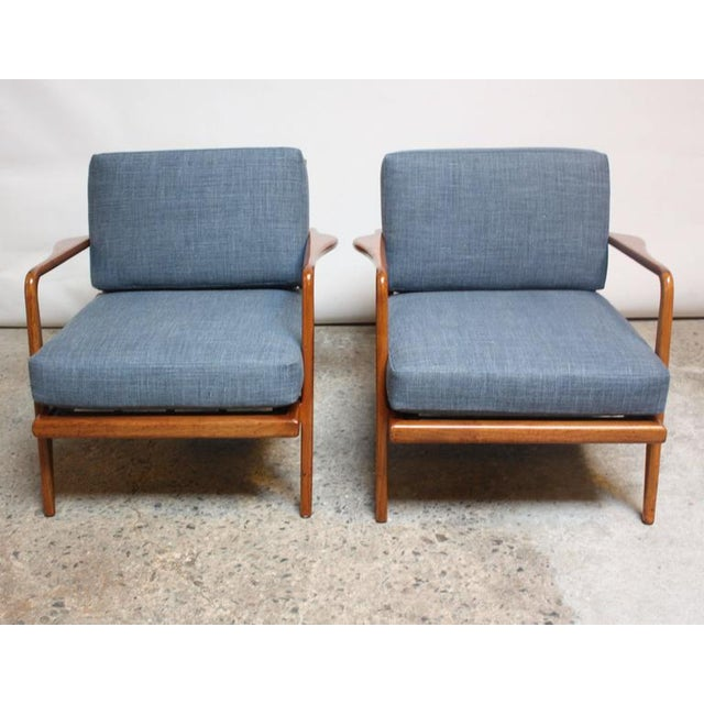 Pair of Mid-Century Walnut Armchairs and Ottoman by Mel Smilow - Image 7 of 11