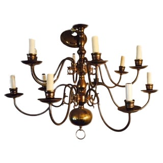 Traditional Style Brass 12 Light Chandelier
