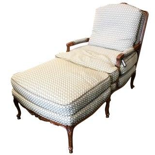 Baker Upholstered Chair & Ottoman