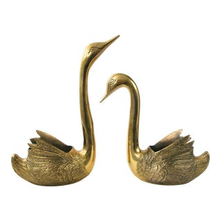 Large Brass Swan Planters - a Pair