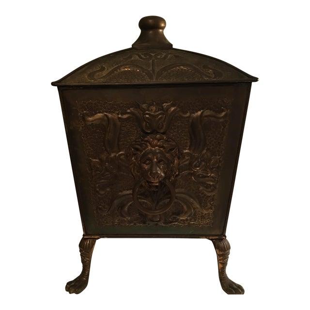 Antique Bronze Coal Bucket Fireplace Scuttle Lions Head Design - Image 1 of 4