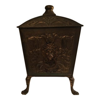 Antique Bronze Coal Bucket Fireplace Scuttle Lions Head Design