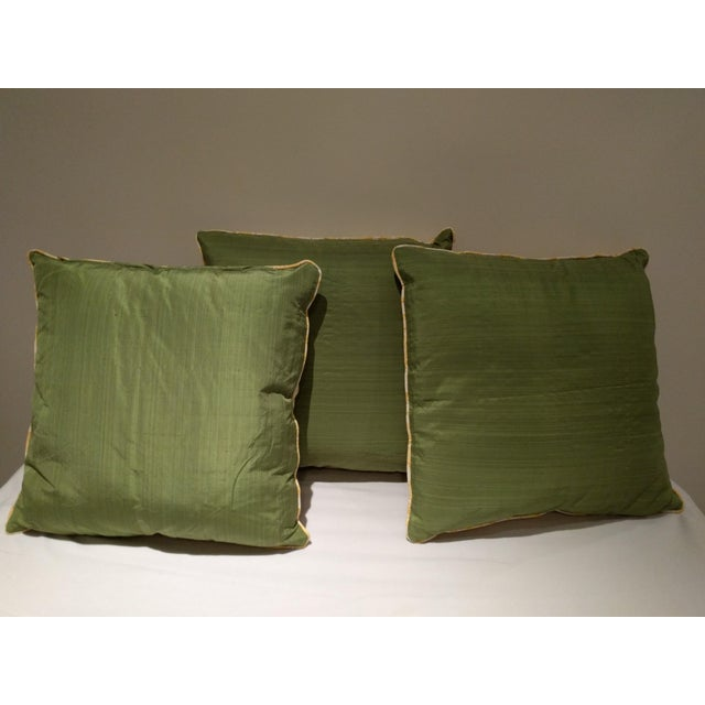 Custom Italian Gold Damask Silk Pillows - Set of 3 - Image 10 of 11