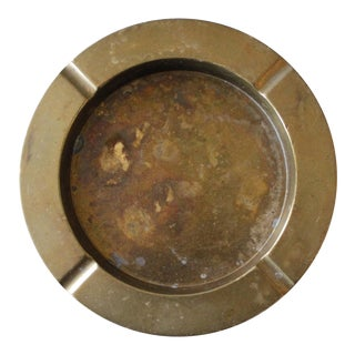 Vintage Round Brass Ashtray Dish Mid Century