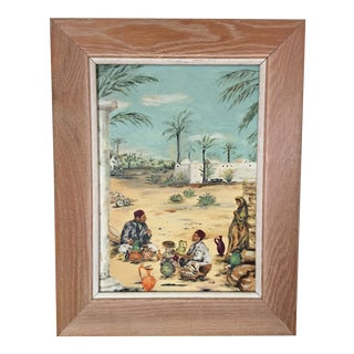 Vintage Moroccan Village Painting