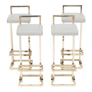 Set of Four Maison Jansen Brass Stools