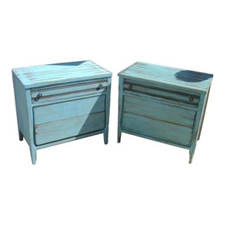 Blue Painted Shabby Chic Dressers - A Pair