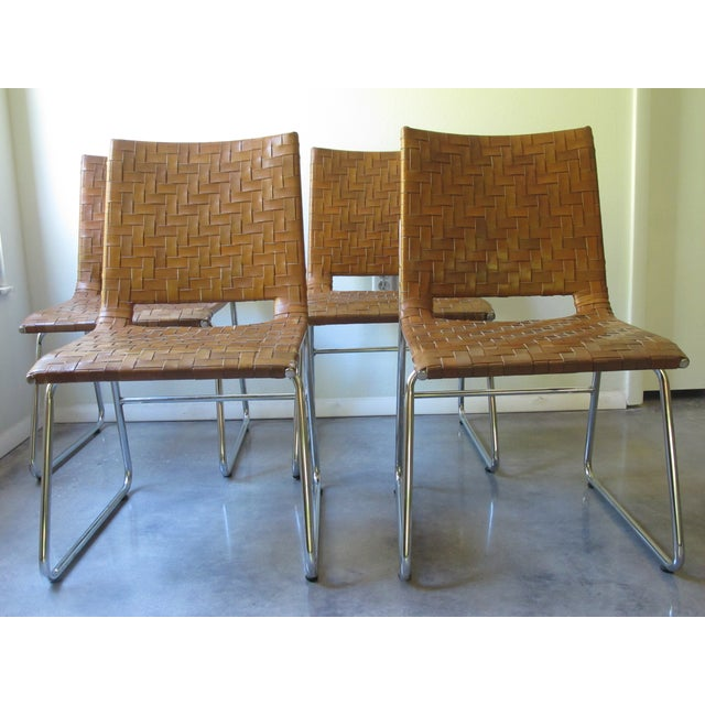 Modern Woven Leather Dining Chairs - Set of 4 - Image 2 of 8