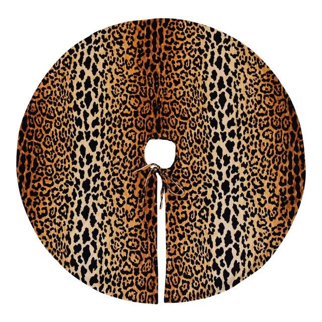 """Custom Tailored X-Large 55"""" Leopard Spot Velvety Christmas Tree Skirt - Image 1 of 9"""