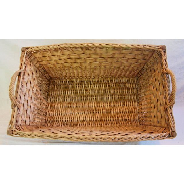 Vintage French Woven Willow Market Basket - Image 5 of 8