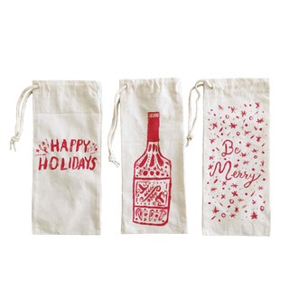 Holiday Wine Totes - Set of 3